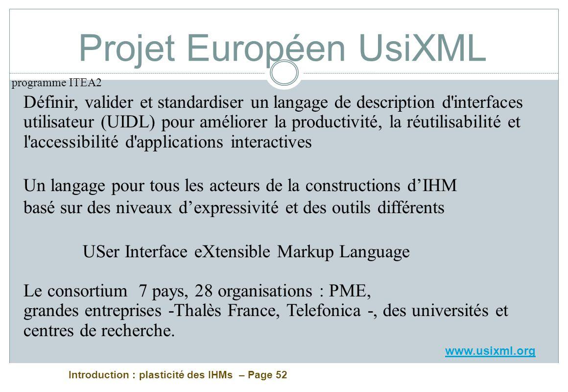 Introduction : plasticité des IHMs – Page 52 Projet Européen UsiXML Définir, valider et standardiser un langage de description d'interfaces utilisateu