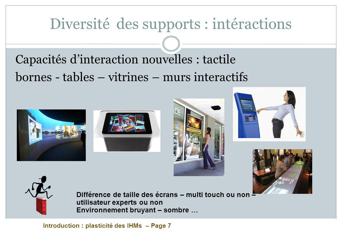 Introduction : plasticité des IHMs – Page 7 Diversité des supports : intéractions Capacités dinteraction nouvelles : tactile bornes - tables – vitrine