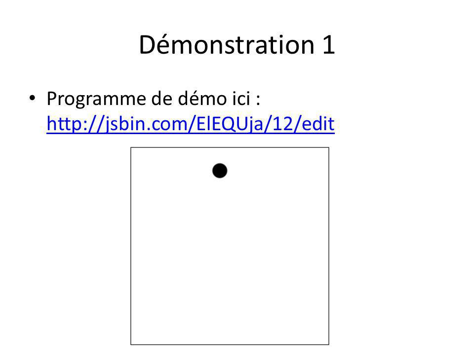 Démonstration 1 Programme de démo ici : http://jsbin.com/ElEQUja/12/edit http://jsbin.com/ElEQUja/12/edit