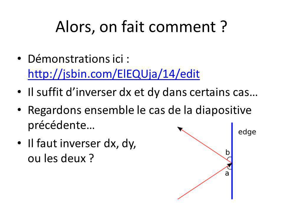 Alors, on fait comment ? Démonstrations ici : http://jsbin.com/ElEQUja/14/edit http://jsbin.com/ElEQUja/14/edit Il suffit dinverser dx et dy dans cert