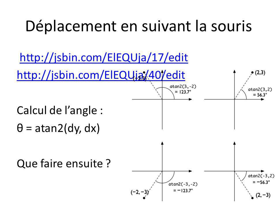 Déplacement en suivant la souris http://jsbin.com/ElEQUja/17/edit http://jsbin.com/ElEQUja/40/edit Calcul de langle : θ = atan2(dy, dx) Que faire ensu