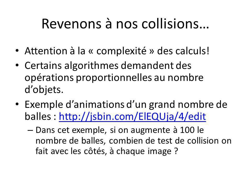 Revenons à nos collisions… Attention à la « complexité » des calculs! Certains algorithmes demandent des opérations proportionnelles au nombre dobjets
