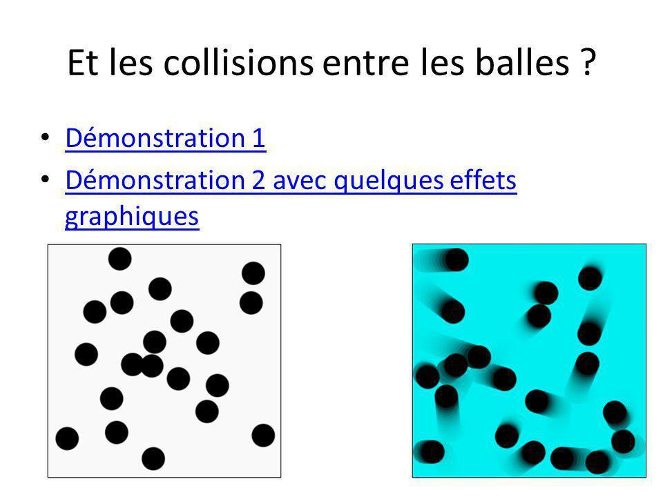 Et les collisions entre les balles ? Démonstration 1 Démonstration 2 avec quelques effets graphiques Démonstration 2 avec quelques effets graphiques