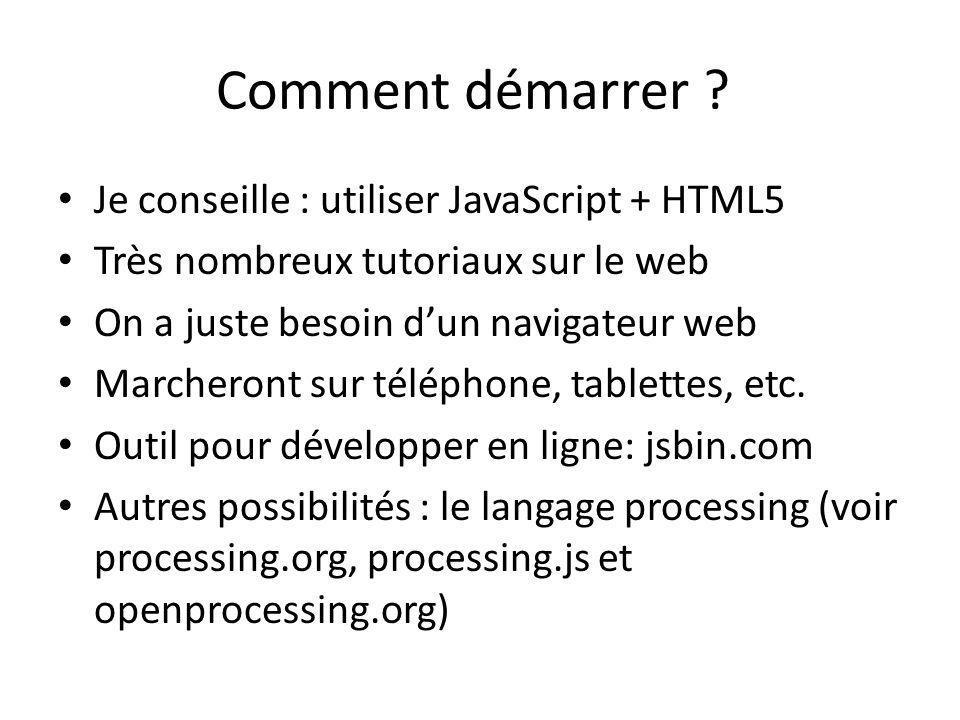Comment démarrer ? Je conseille : utiliser JavaScript + HTML5 Très nombreux tutoriaux sur le web On a juste besoin dun navigateur web Marcheront sur t