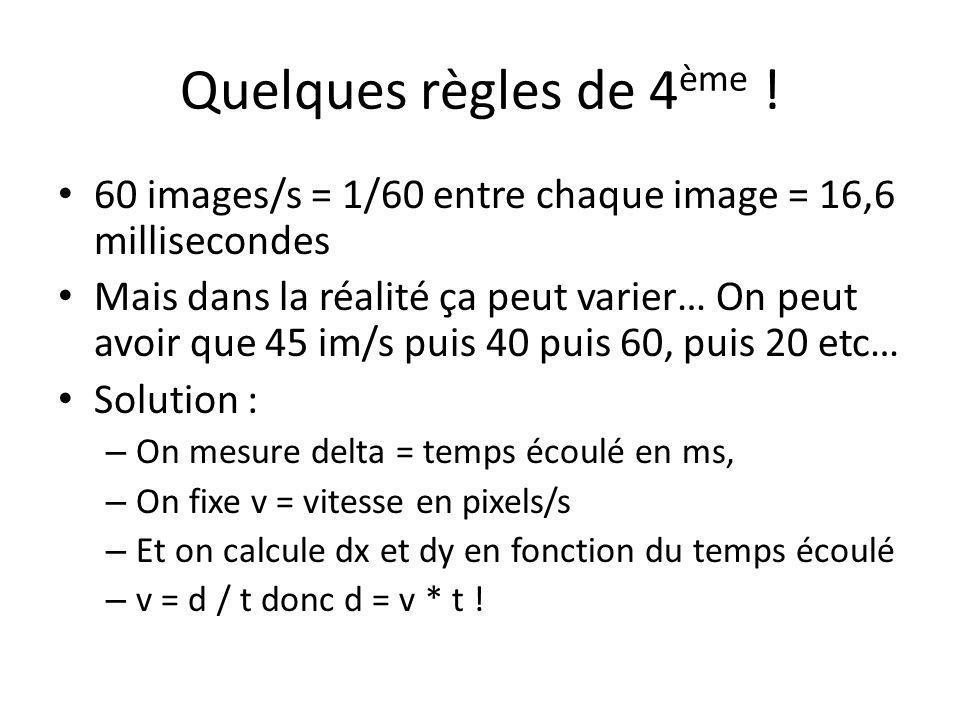 Quelques règles de 4 ème ! 60 images/s = 1/60 entre chaque image = 16,6 millisecondes Mais dans la réalité ça peut varier… On peut avoir que 45 im/s p