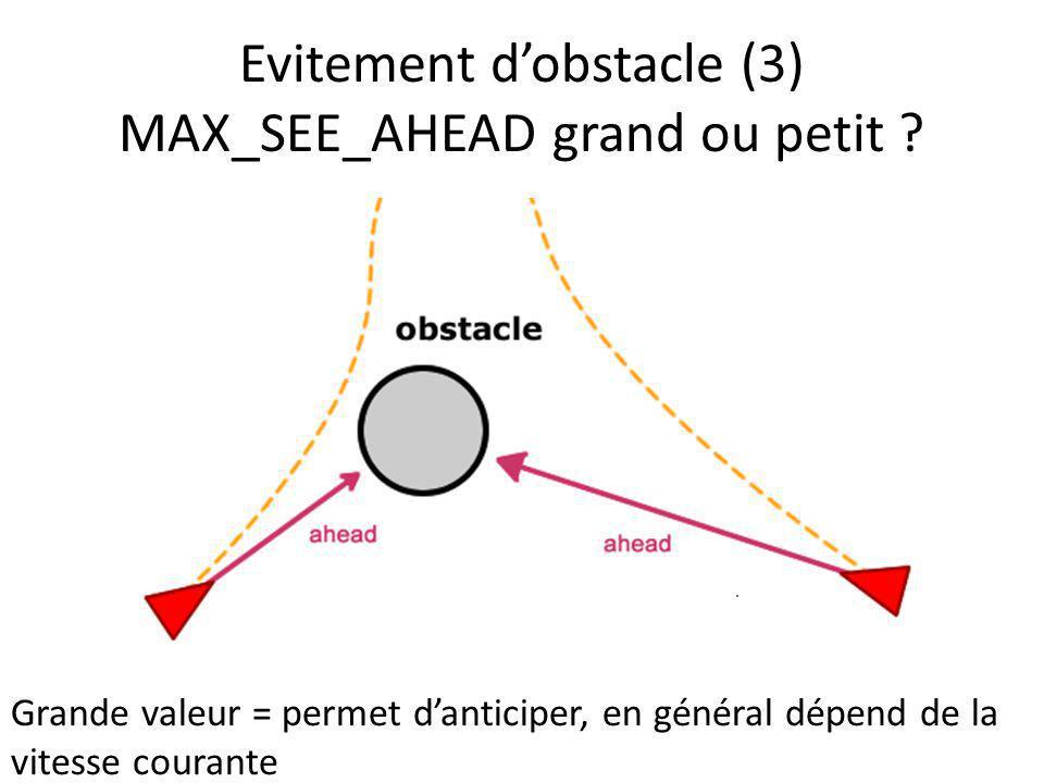 Evitement dobstacle (3) MAX_SEE_AHEAD grand ou petit ? Grande valeur = permet danticiper, en général dépend de la vitesse courante