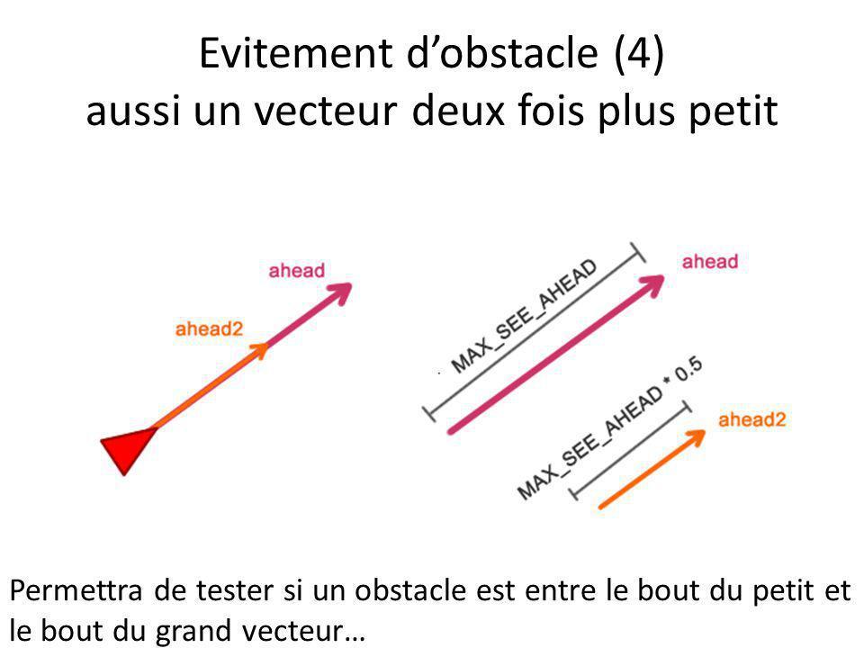 Evitement dobstacle (4) aussi un vecteur deux fois plus petit Permettra de tester si un obstacle est entre le bout du petit et le bout du grand vecteu
