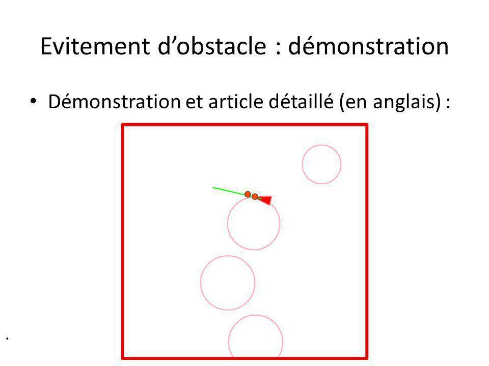 Evitement dobstacle : démonstration. Démonstration et article détaillé (en anglais) :