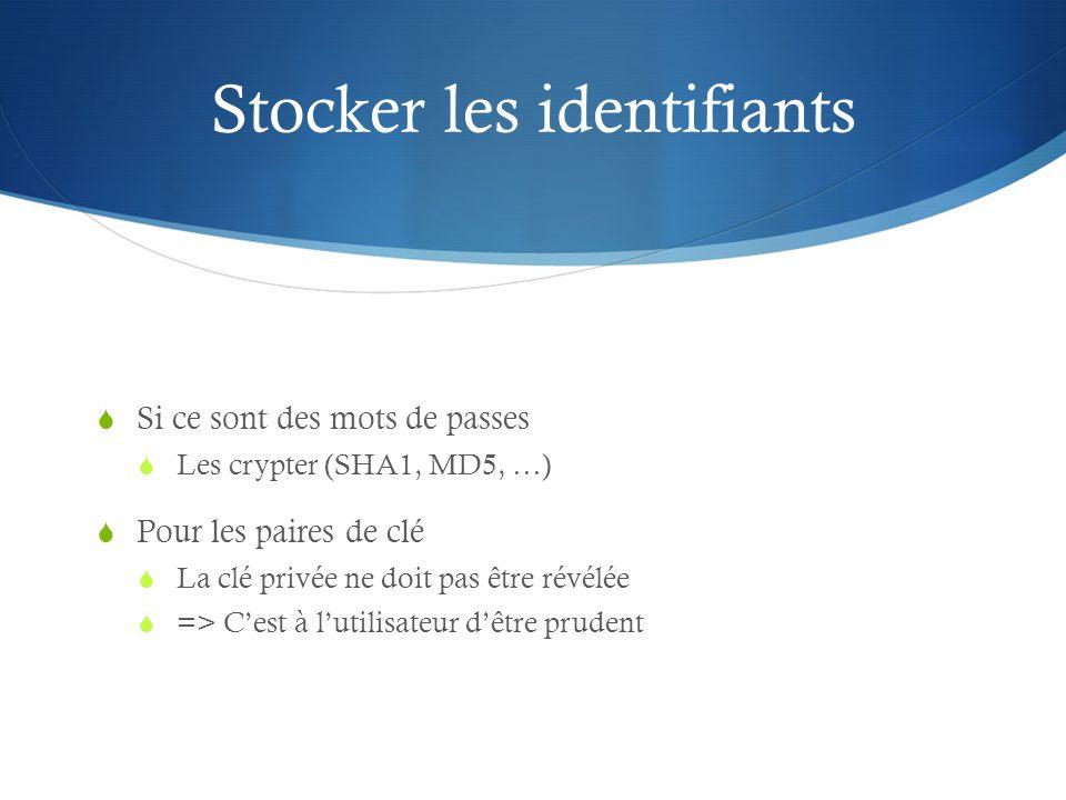 Stocker les identifiants Si ce sont des mots de passes Les crypter (SHA1, MD5, …) Pour les paires de clé La clé privée ne doit pas être révélée => Ces