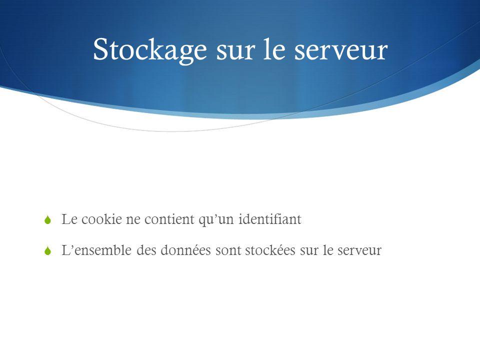 Stockage sur le serveur Le cookie ne contient quun identifiant Lensemble des données sont stockées sur le serveur
