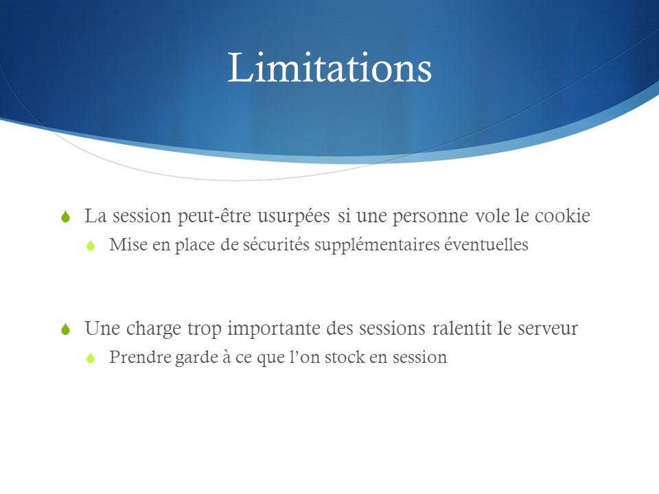 Limitations La session peut-être usurpées si une personne vole le cookie Mise en place de sécurités supplémentaires éventuelles Une charge trop import