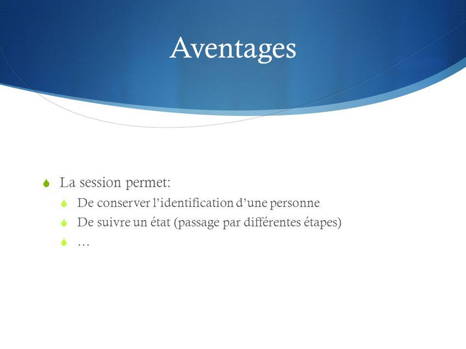 Aventages La session permet: De conserver lidentification dune personne De suivre un état (passage par différentes étapes) …