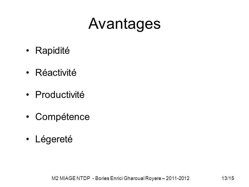 Avantages Rapidité Réactivité Productivité Compétence Légereté 13/15 M2 MIAGE NTDP - Bories Enrici Gharoual Royere – 2011-2012