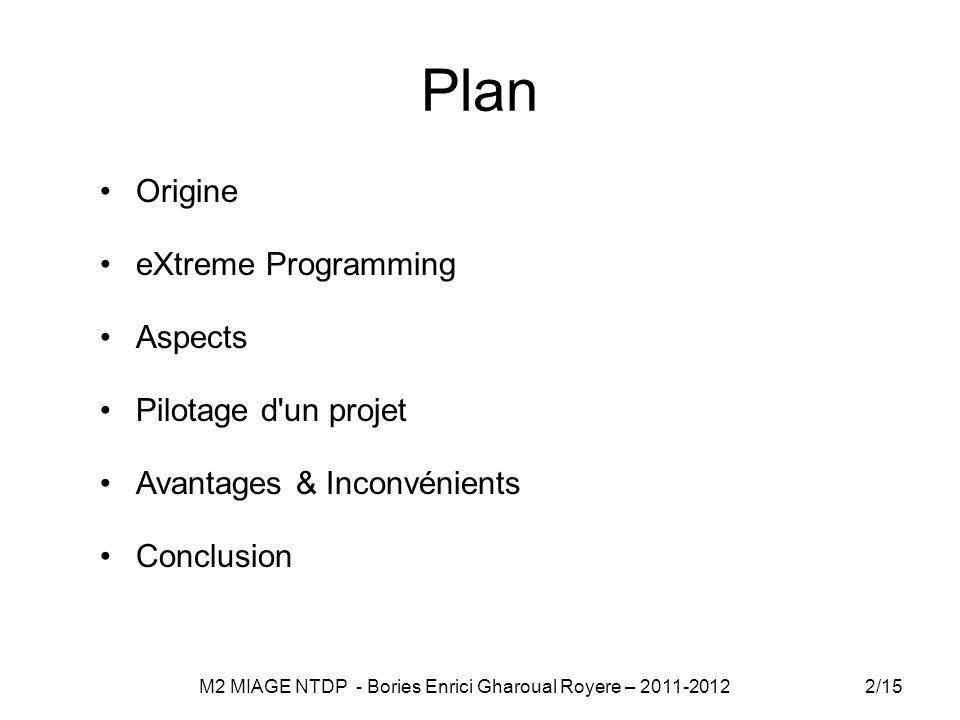 Plan Origine eXtreme Programming Aspects Pilotage d un projet Avantages & Inconvénients Conclusion 2/15 M2 MIAGE NTDP - Bories Enrici Gharoual Royere – 2011-2012