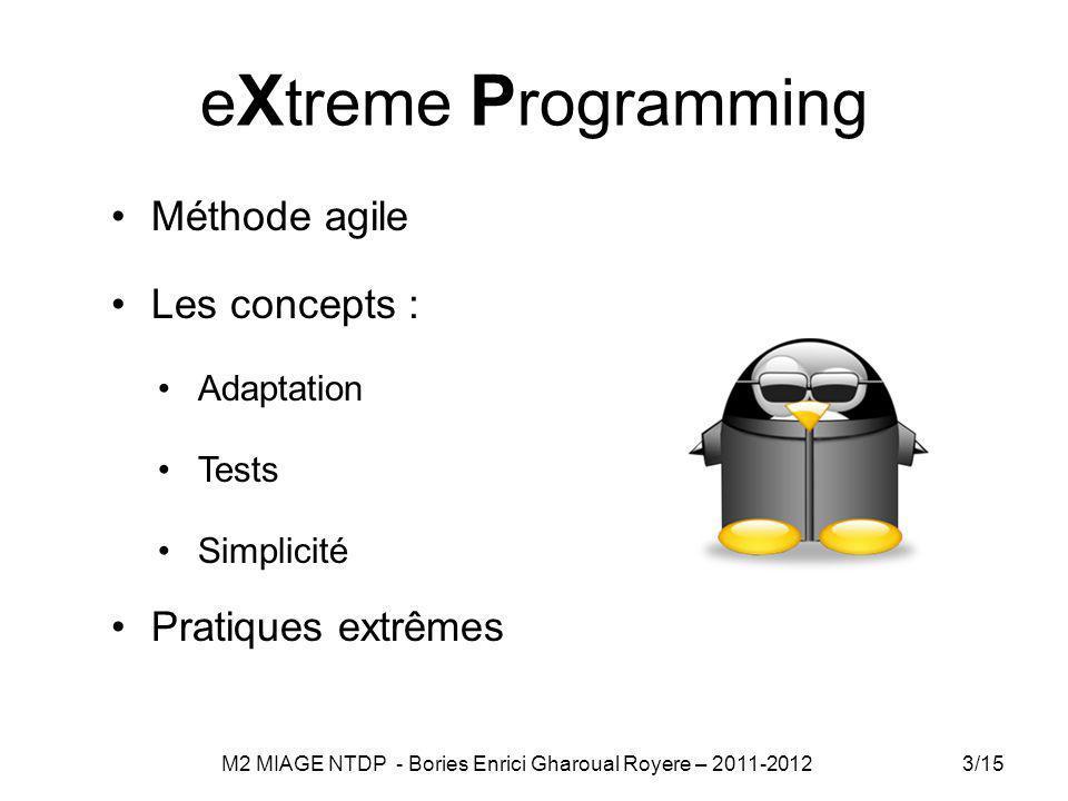 e X treme P rogramming Méthode agile Les concepts : Adaptation Tests Simplicité Pratiques extrêmes 3/15 M2 MIAGE NTDP - Bories Enrici Gharoual Royere