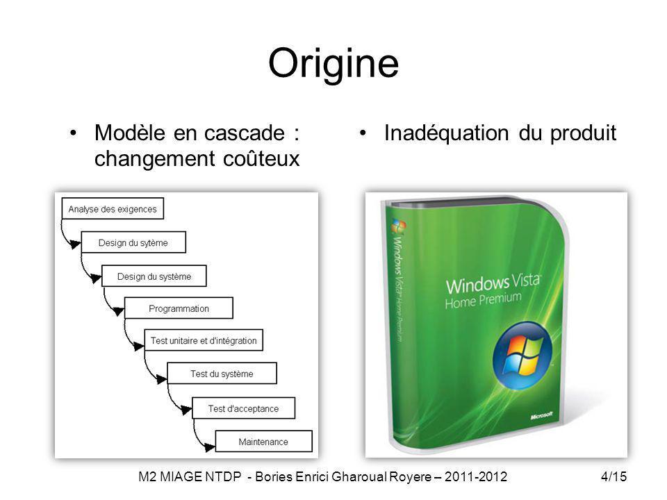 Origine Modèle en cascade : changement coûteux Inadéquation du produit 4/15 M2 MIAGE NTDP - Bories Enrici Gharoual Royere – 2011-2012