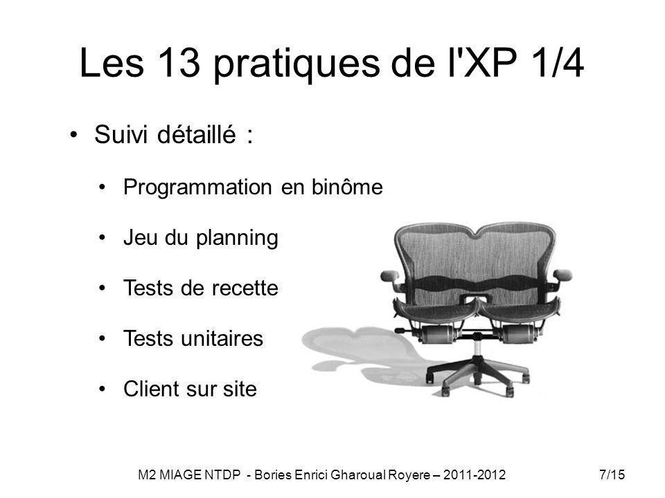 Les 13 pratiques de l XP 1/4 Suivi détaillé : Programmation en binôme Jeu du planning Tests de recette Tests unitaires Client sur site 7/15 M2 MIAGE NTDP - Bories Enrici Gharoual Royere – 2011-2012