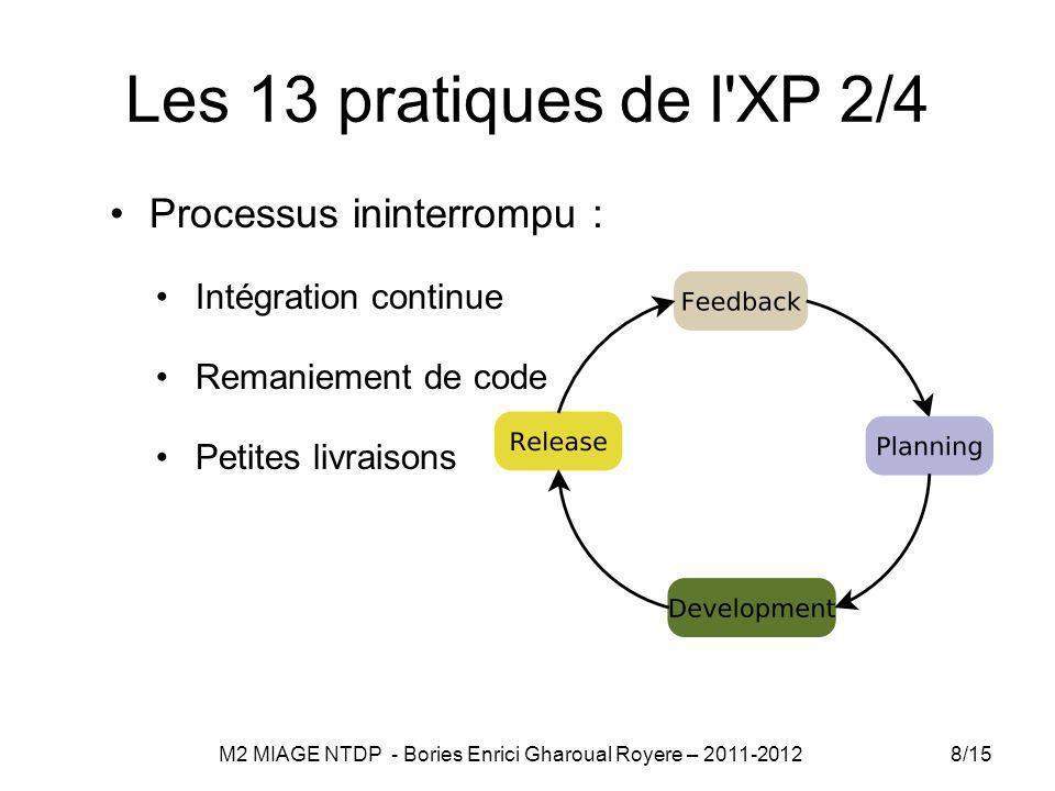 Les 13 pratiques de l XP 2/4 Processus ininterrompu : Intégration continue Remaniement de code Petites livraisons 8/15 M2 MIAGE NTDP - Bories Enrici Gharoual Royere – 2011-2012
