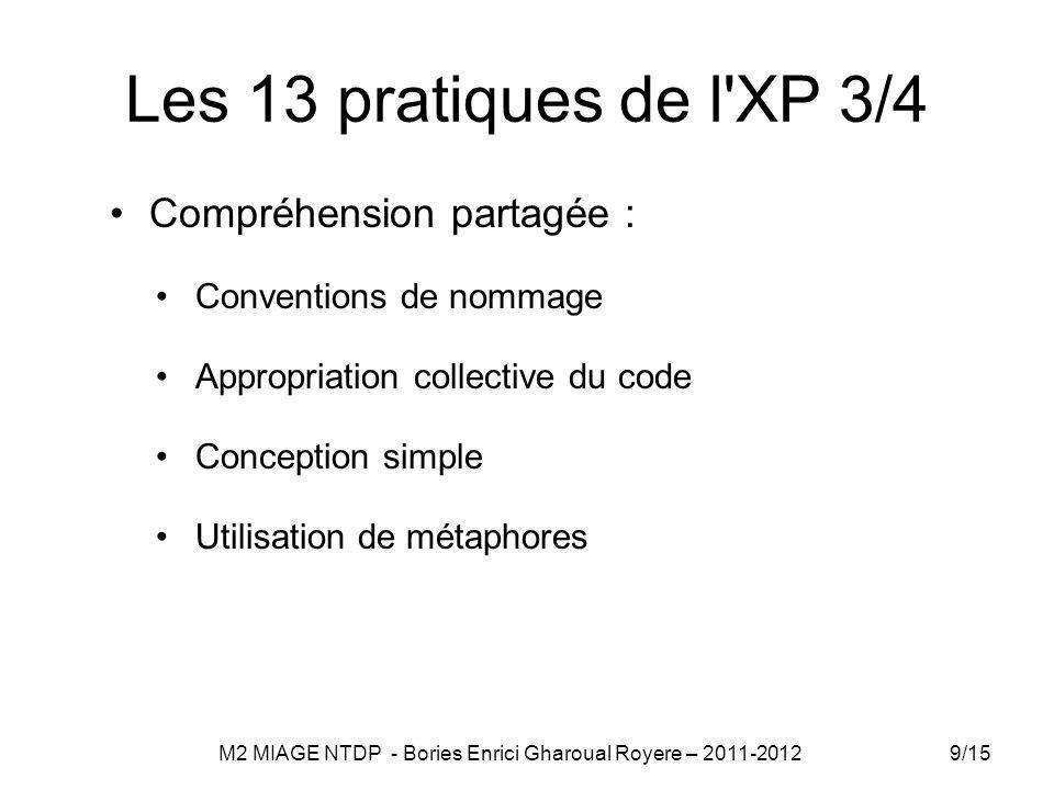 Les 13 pratiques de l XP 3/4 Compréhension partagée : Conventions de nommage Appropriation collective du code Conception simple Utilisation de métaphores 9/15 M2 MIAGE NTDP - Bories Enrici Gharoual Royere – 2011-2012