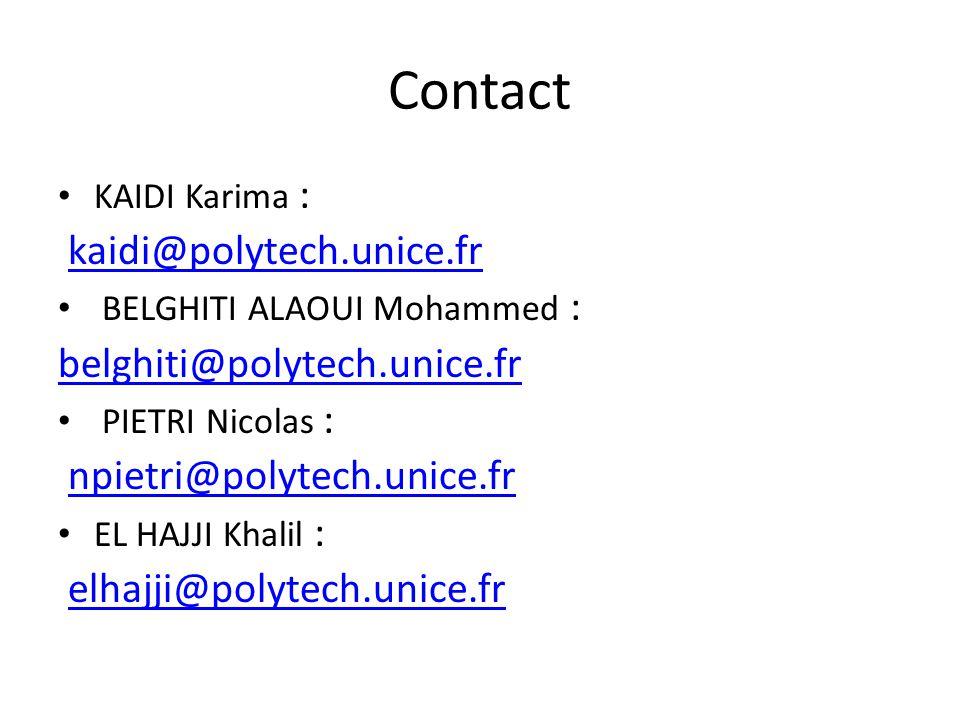 Contact KAIDI Karima : kaidi@polytech.unice.fr BELGHITI ALAOUI Mohammed : belghiti@polytech.unice.fr PIETRI Nicolas : npietri@polytech.unice.fr EL HAJJI Khalil : elhajji@polytech.unice.fr
