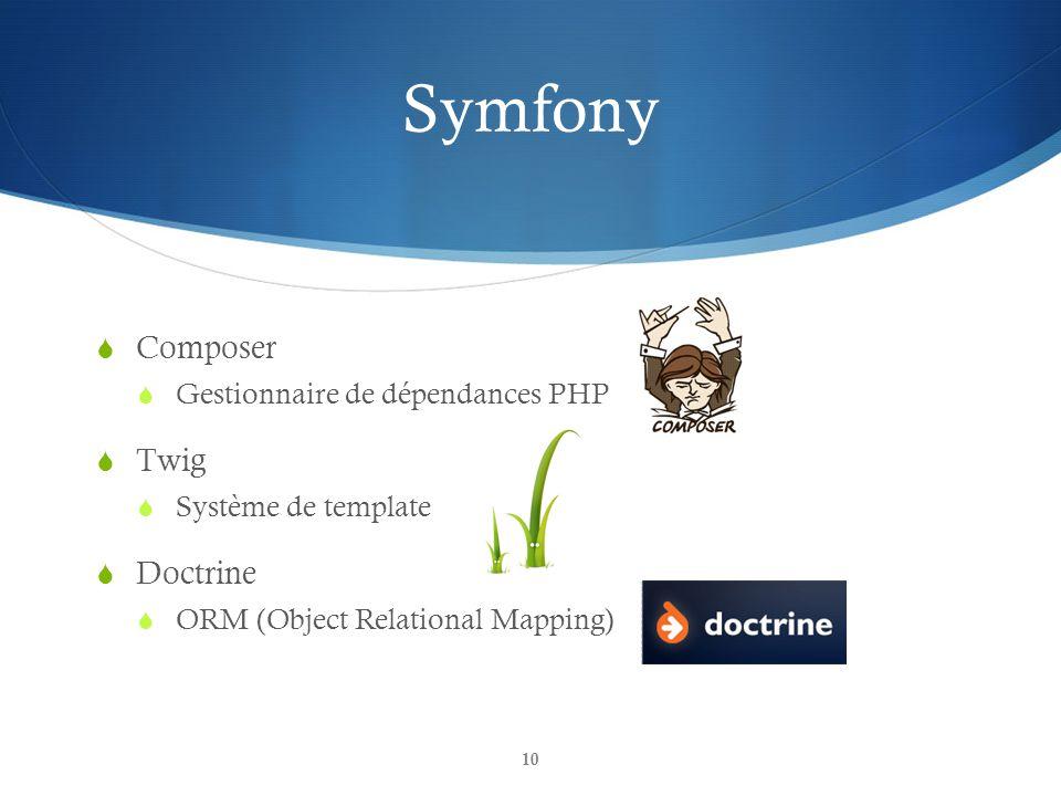 Symfony 10 Composer Gestionnaire de dépendances PHP Twig Système de template Doctrine ORM (Object Relational Mapping)