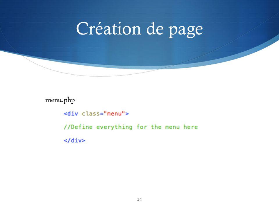 Création de page 24 menu.php