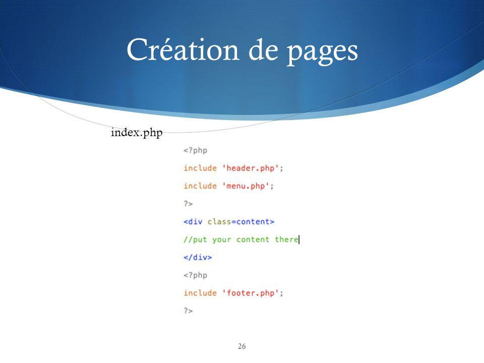 Création de pages 26 index.php