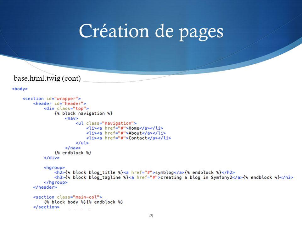 Création de pages 29 base.html.twig (cont)