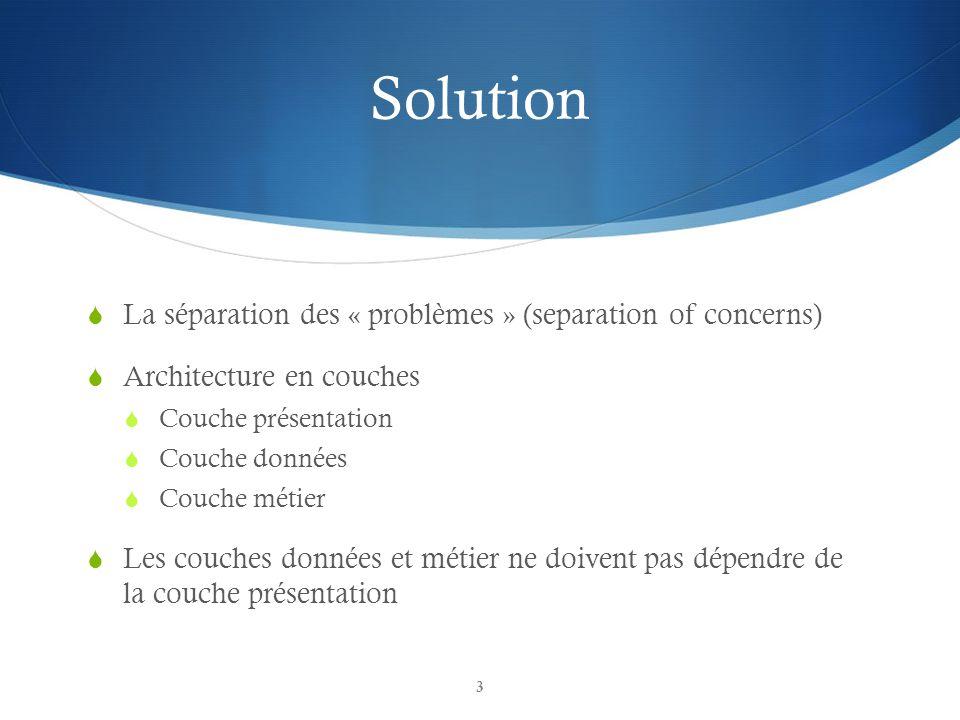 Solution La séparation des « problèmes » (separation of concerns) Architecture en couches Couche présentation Couche données Couche métier Les couches