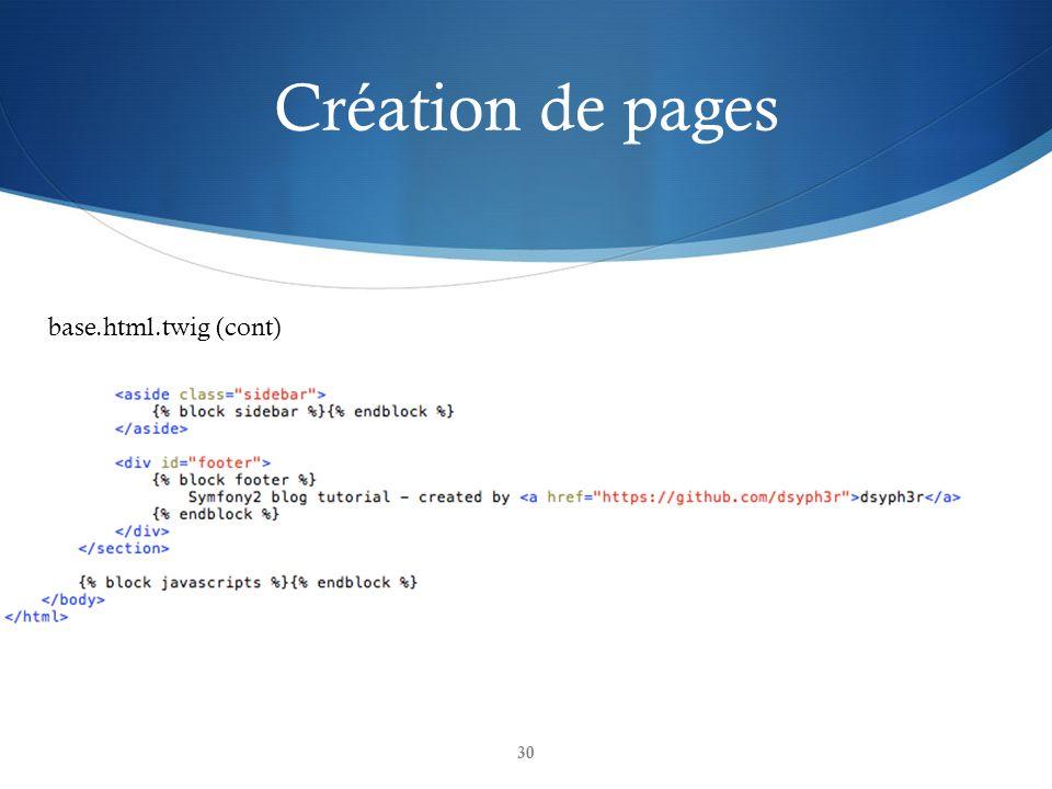 Création de pages 30 base.html.twig (cont)