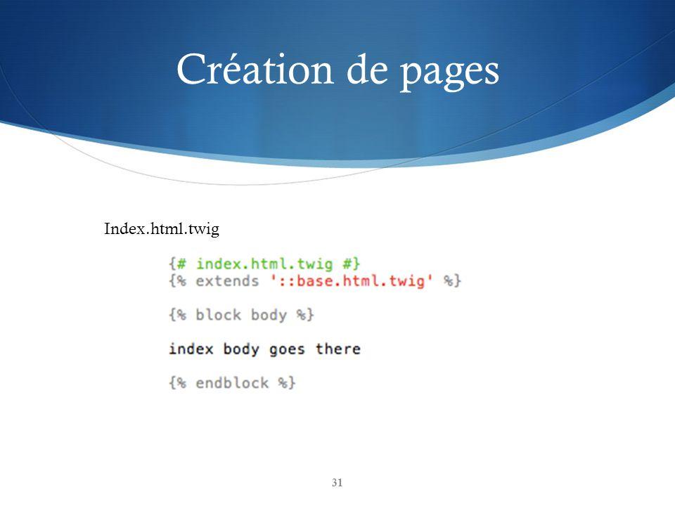 Création de pages 31 Index.html.twig