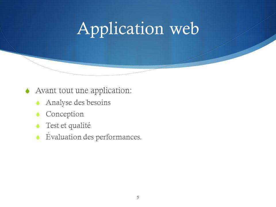 Application web Avant tout une application: Analyse des besoins Conception Test et qualité Évaluation des performances. 5