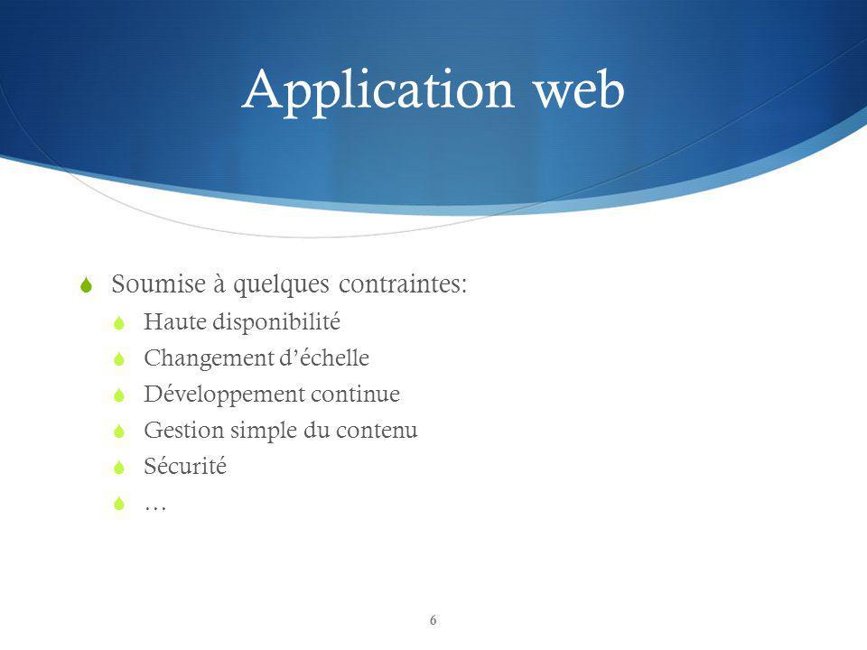Application web Soumise à quelques contraintes: Haute disponibilité Changement déchelle Développement continue Gestion simple du contenu Sécurité … 6