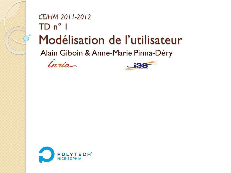 CEIHM 2011-2012 TD n° 1 Modélisation de lutilisateur Alain Giboin & Anne-Marie Pinna-Déry