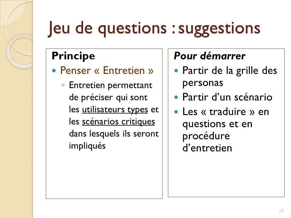 Jeu de questions : suggestions Principe Penser « Entretien » Entretien permettant de préciser qui sont les utilisateurs types et les scénarios critiqu