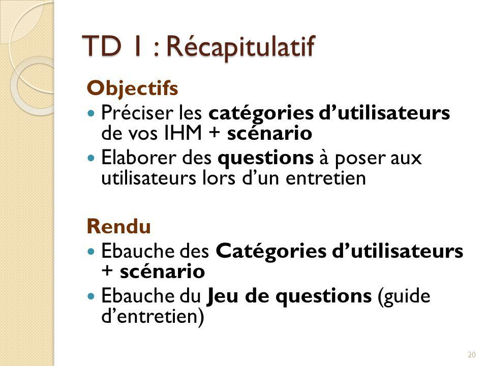 TD 1 : Récapitulatif Objectifs Préciser les catégories dutilisateurs de vos IHM + scénario Elaborer des questions à poser aux utilisateurs lors dun en