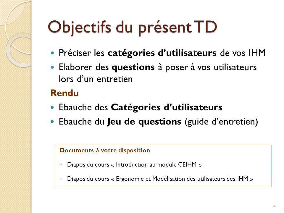 Objectifs du présent TD Préciser les catégories dutilisateurs de vos IHM Elaborer des questions à poser à vos utilisateurs lors dun entretien Rendu Eb