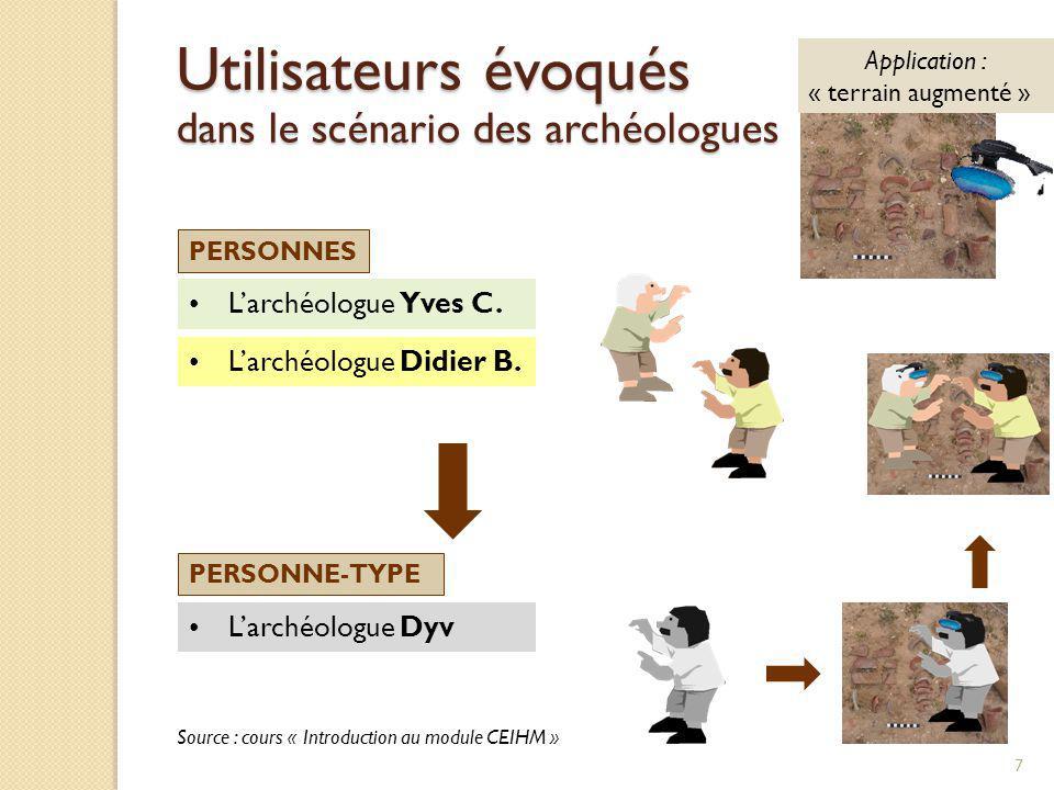 Larchéologue Yves C. PERSONNES PERSONNE-TYPE Larchéologue Dyv Larchéologue Didier B. Source : cours « Introduction au module CEIHM » 7 Utilisateurs év