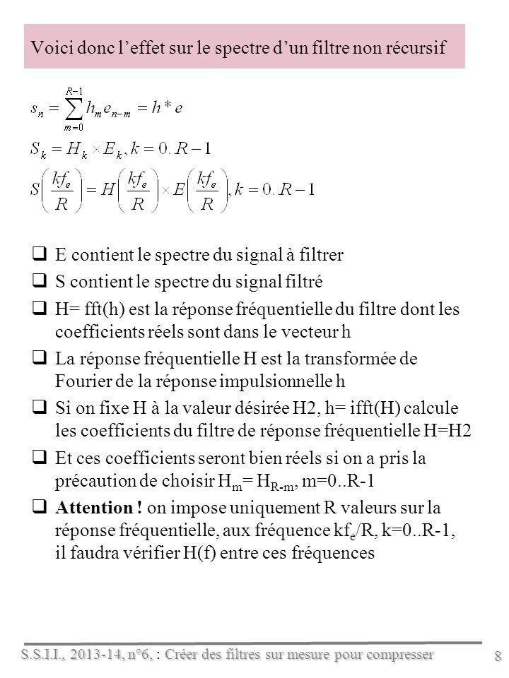 S.S.I.I., 2013-14, n°6, Créer des filtres sur mesure pour compresser S.S.I.I., 2013-14, n°6, : Créer des filtres sur mesure pour compresser 8 Voici donc leffet sur le spectre dun filtre non récursif E contient le spectre du signal à filtrer S contient le spectre du signal filtré H = fft(h) est la réponse fréquentielle du filtre dont les coefficients réels sont dans le vecteur h L a réponse fréquentielle H est la transformée de Fourier de la réponse impulsionnelle h S i on fixe H à la valeur désirée H2, h= ifft(H) calcule les coefficients du filtre de réponse fréquentielle H=H2 E t ces coefficients seront bien réels si on a pris la précaution de choisir H m = H R-m, m=0..R-1 A ttention .