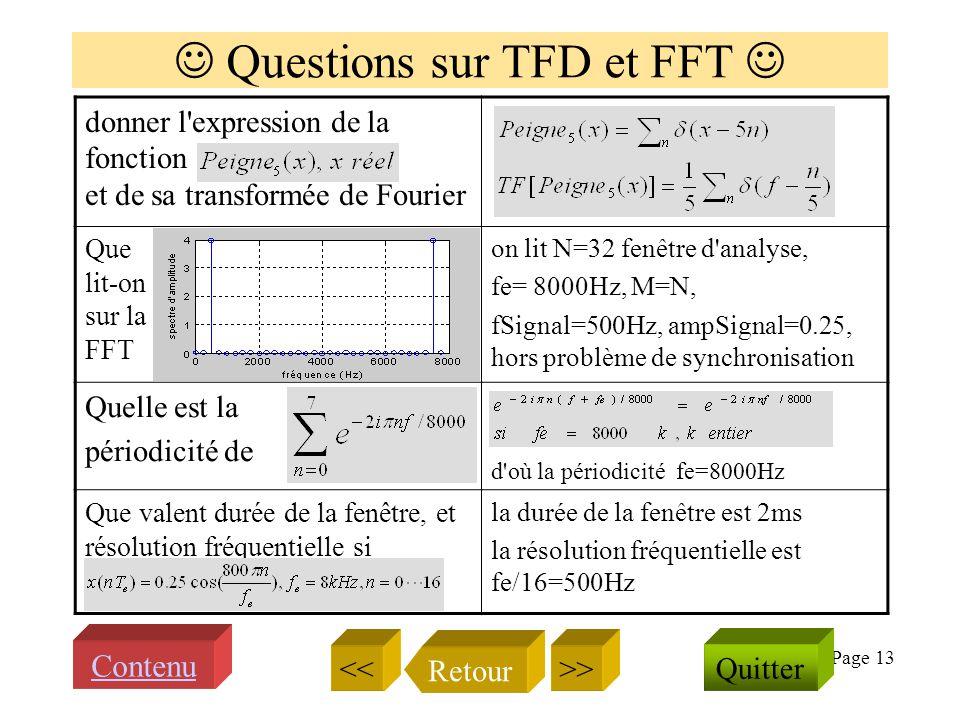 Page 12 Transformée de Fourier et spectre Quappelle ton spectre damplitude du signal s(t) ? C est le module de la transfor- mée de Fourier du signal Q