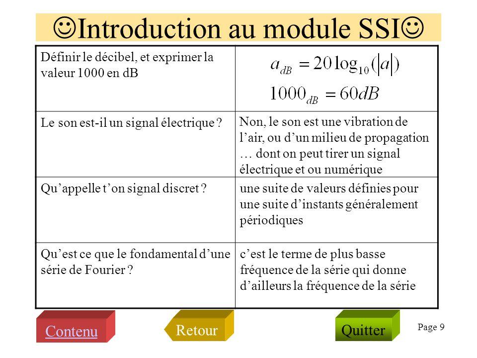 Page 8 Qu'évoquent les termes et notations suivants ? fe, Te Shannon numérique (h*e)(t) Goldwave Matlab t Hamming TFD kbps LA3 pôle décade TF: discret