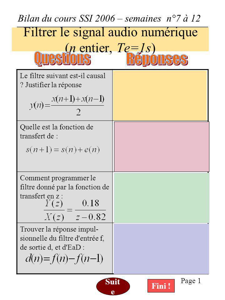 Bilan du cours SSI 2006 – semaines n°7 à 12 Page 1 Filtrer le signal audio numérique (n entier, Te=1s) Le filtre suivant est-il causal .