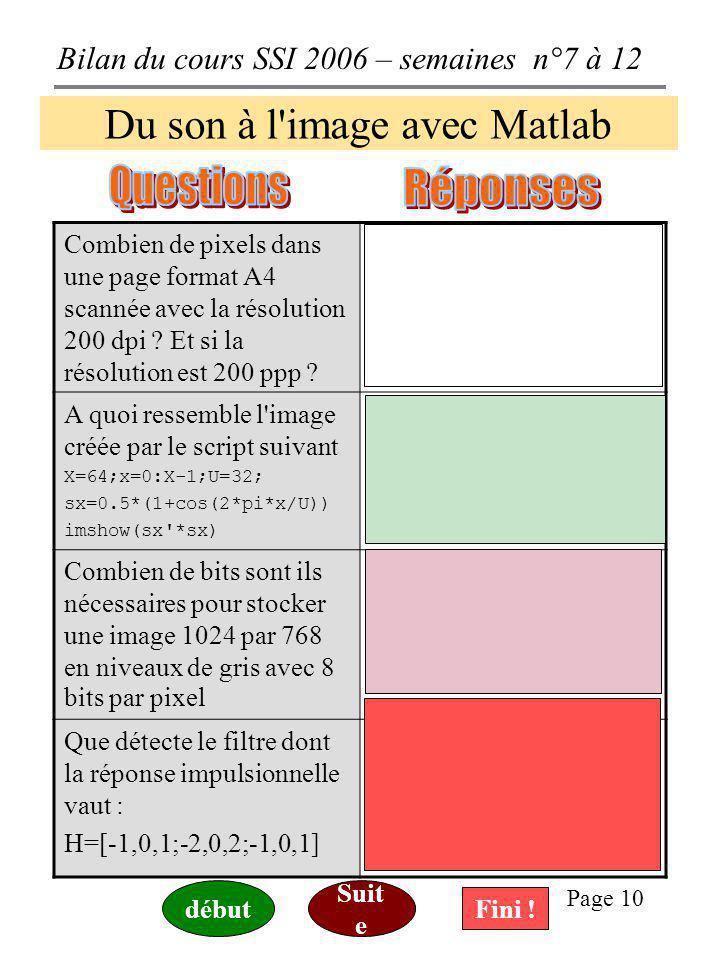 Bilan du cours SSI 2006 – semaines n°7 à 12 Page 9 Construire des GUI avec Matlab Quelle est la signification de 'gcf' et que réalise alors l'instruct