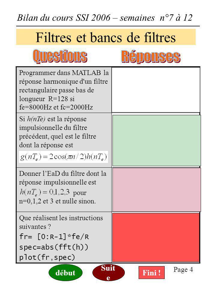 Bilan du cours SSI 2006 – semaines n°7 à 12 Page 4 Filtres et bancs de filtres Programmer dans MATLAB la réponse harmonique d un filtre rectangulaire passe bas de longueur R=128 si fe=8000Hz et fc=2000Hz H=[ones(1,33), zeros(1,63), ones(1,32)] % par exemple avec MATLAB, sachant Si h(nTe) est la réponse impulsionnelle du filtre précédent, quel est le filtre dont la réponse est Cest un filtre dont la RH sobtient en décalant celle du filtre précédent, autour des fréquences fe/4=2000Hz donc un filtre passe bas avec fc=4000Hz Donner lEaD du filtre dont la réponse impulsionnelle est pour n=0,1,2 et 3 et nulle sinon.