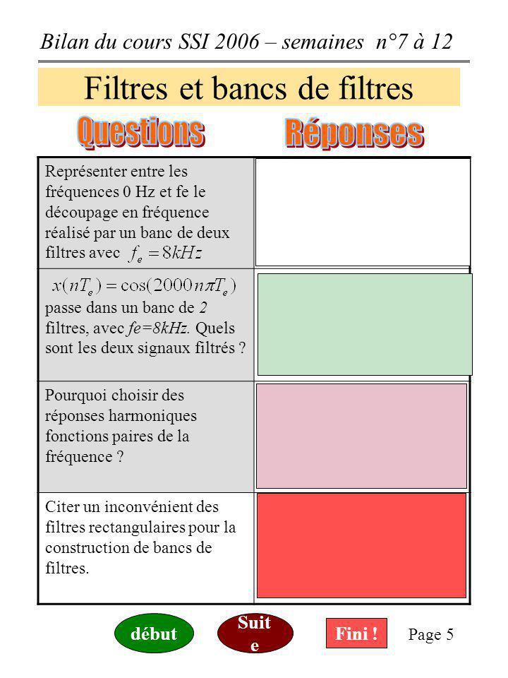 Bilan du cours SSI 2006 – semaines n°7 à 12 Page 5 Filtres et bancs de filtres Représenter entre les fréquences 0 Hz et fe le découpage en fréquence réalisé par un banc de deux filtres avec passe dans un banc de 2 filtres, avec fe=8kHz.