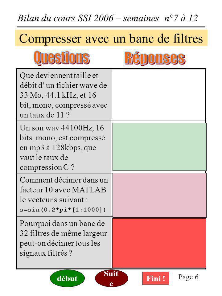 Bilan du cours SSI 2006 – semaines n°7 à 12 Page 6 Compresser avec un banc de filtres Que deviennent taille et débit d un fichier wave de 33 Mo, 44.1 kHz, et 16 bit, mono, compressé avec un taux de 11 .
