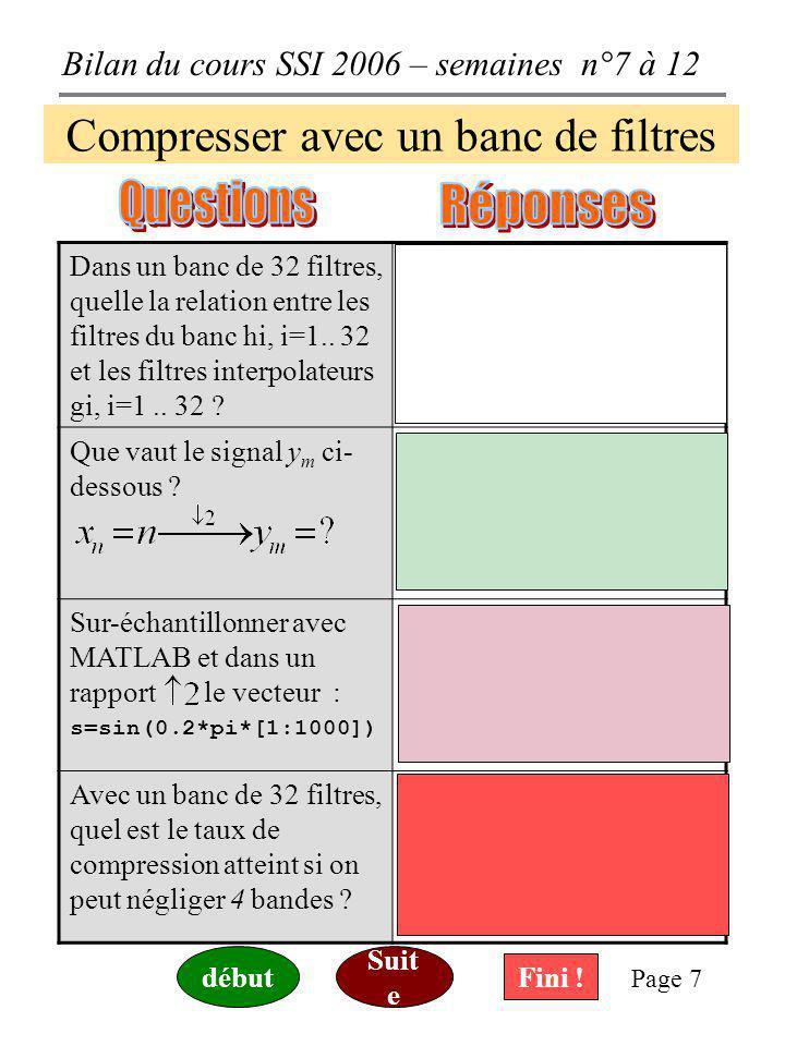 Bilan du cours SSI 2006 – semaines n°7 à 12 Page 6 Compresser avec un banc de filtres Que deviennent taille et débit d' un fichier wave de 33 Mo, 44.1