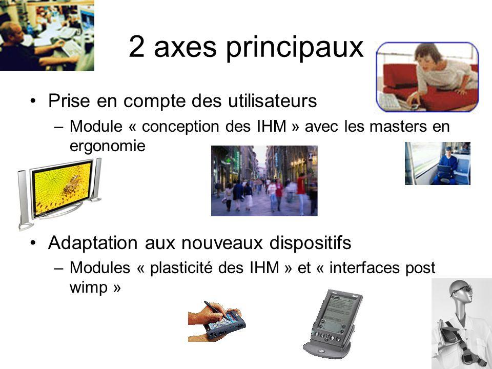 2 axes principaux Prise en compte des utilisateurs –Module « conception des IHM » avec les masters en ergonomie Adaptation aux nouveaux dispositifs –Modules « plasticité des IHM » et « interfaces post wimp »