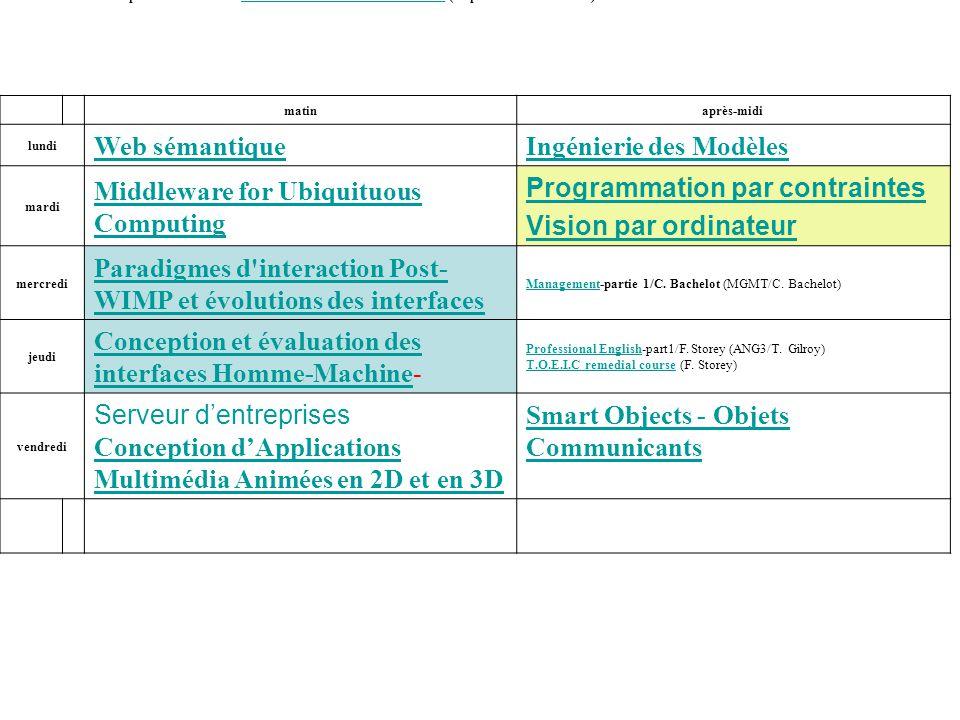 Cours des 8 premières semainesIHM : interaction homme-machines (resp.