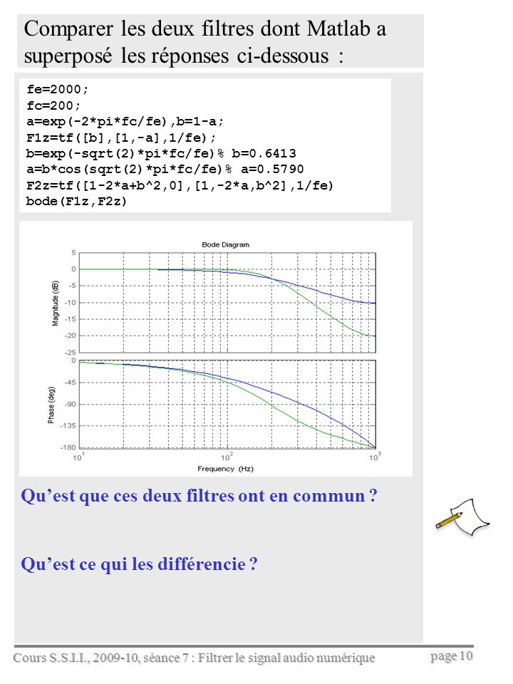 Cours S.S.I.I., 2009-10, séance 7 : Filtrer le signal audio numérique page 10 Comparer les deux filtres dont Matlab a superposé les réponses ci-dessou
